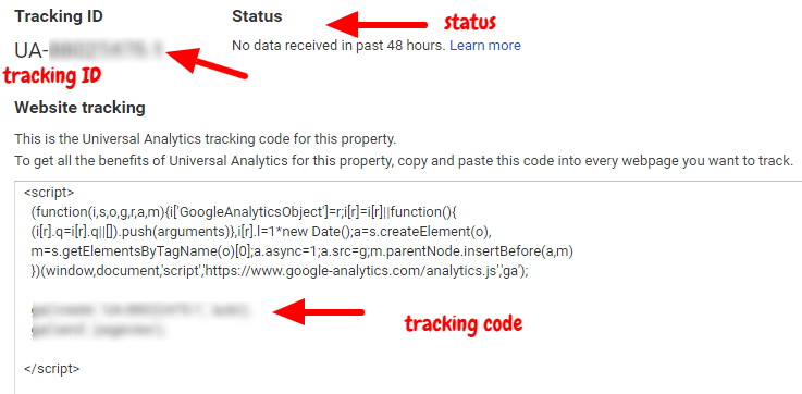 google analytics tracking code and tracking id
