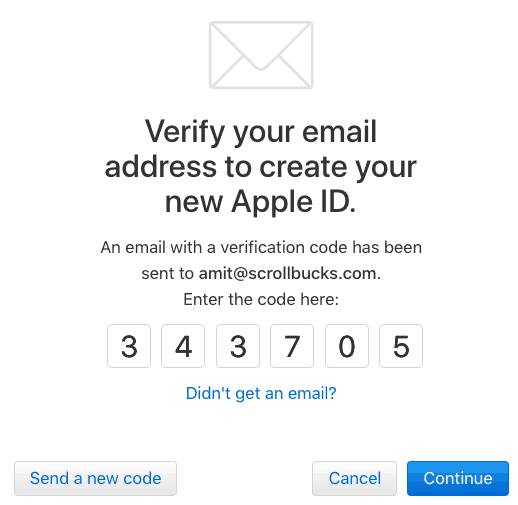 verification of apple ID