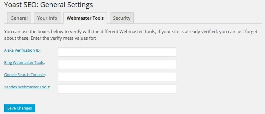 seo by yoast webmaster setting