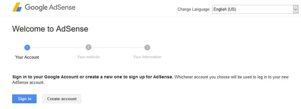 adsense start sign up