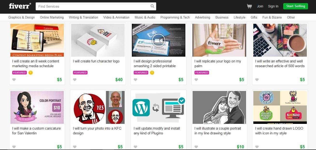 fiverr online marketplace