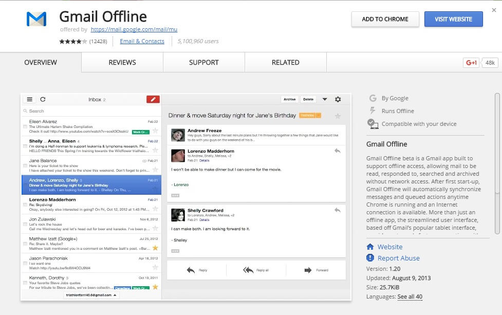 gmail offline chrome plugin
