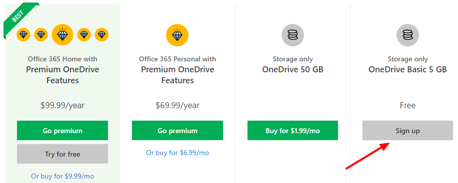 onedrive personal storage plans