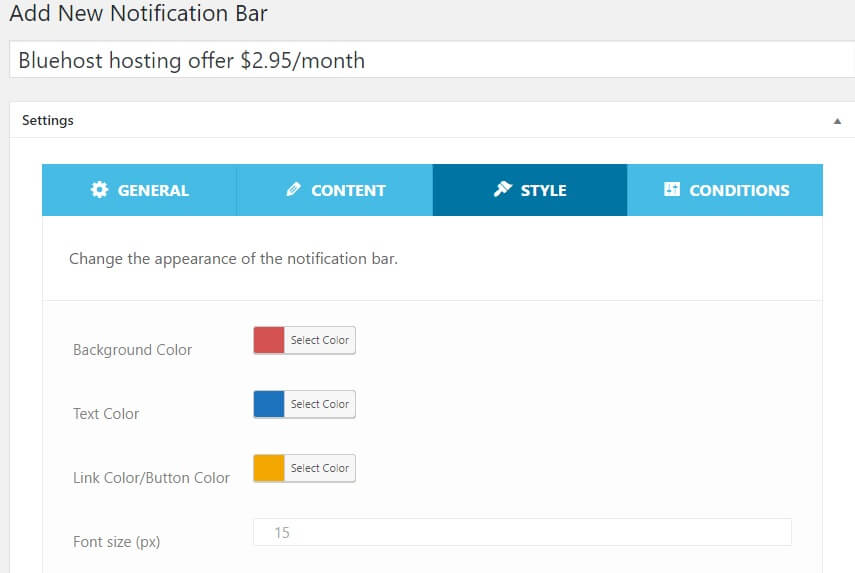 wordpress notification bar plugin setup