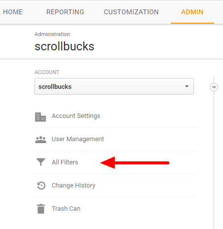 google analytics admin tab