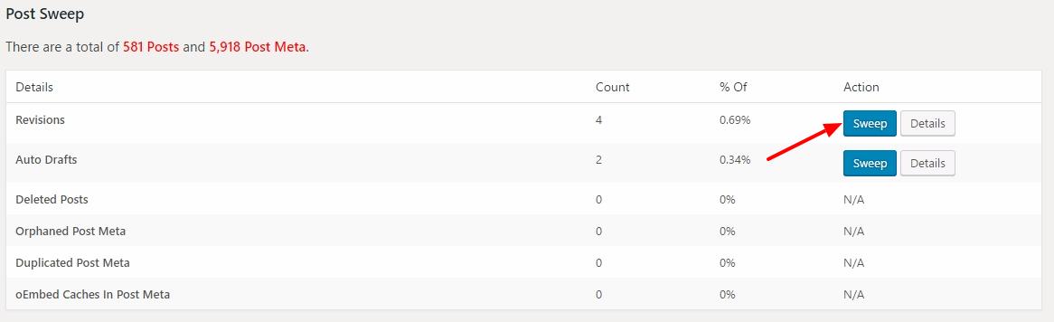 clean databse with wp sweep wordpress plugin