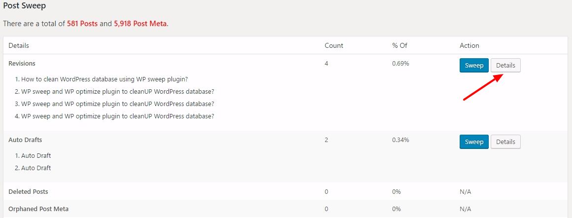 optimize database table with wp sweep wordpress plugin