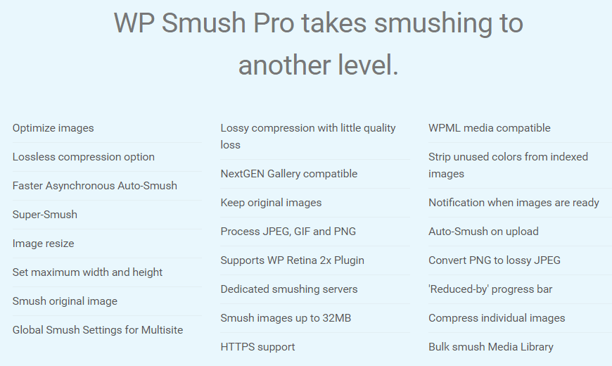 wp smush pro features