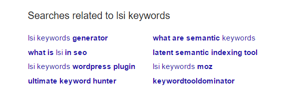 LSI keywords in google