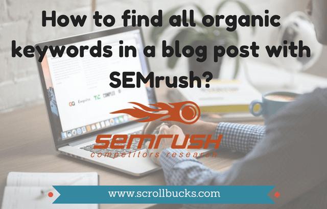 find organic keywords with semrush
