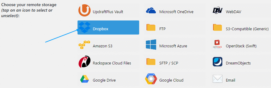 updraftplus backup option