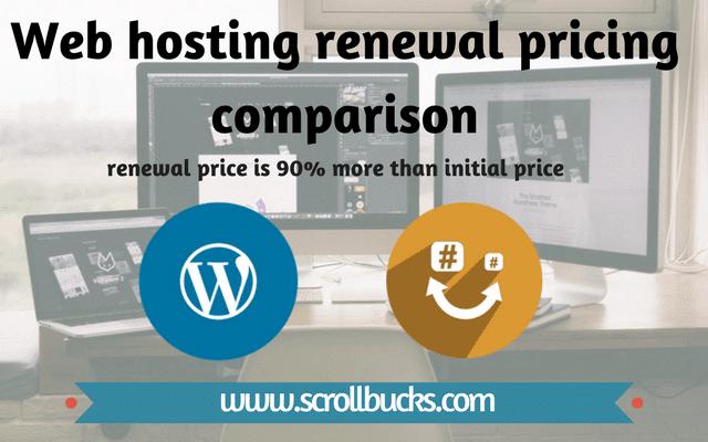 Web hosting renewal pricing comparison