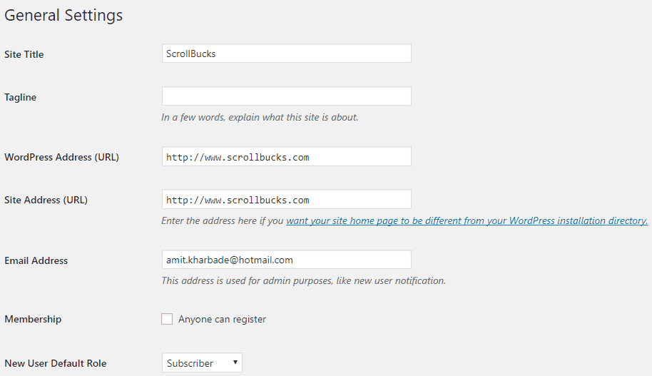 Wordpress general setting update