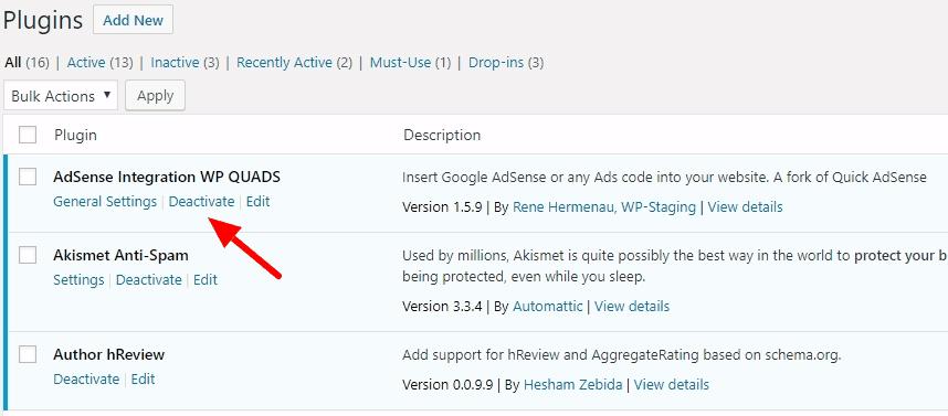 Wordpress plugins deactivate