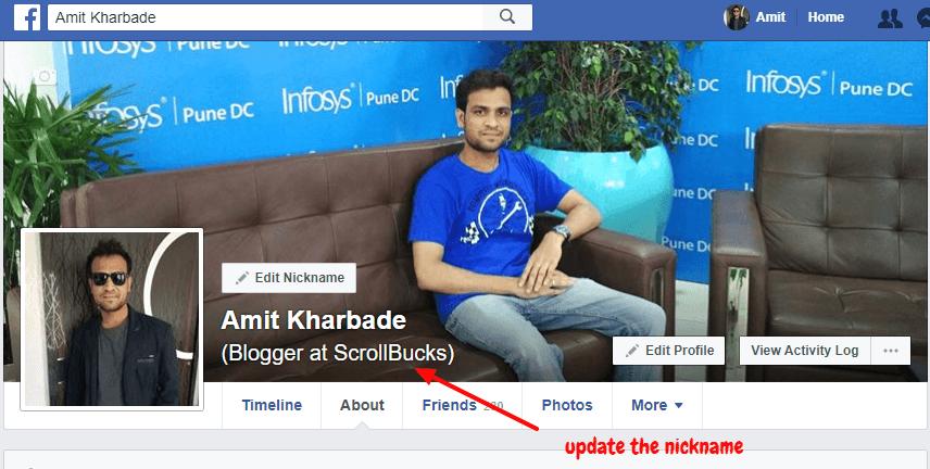 facebook update nickname
