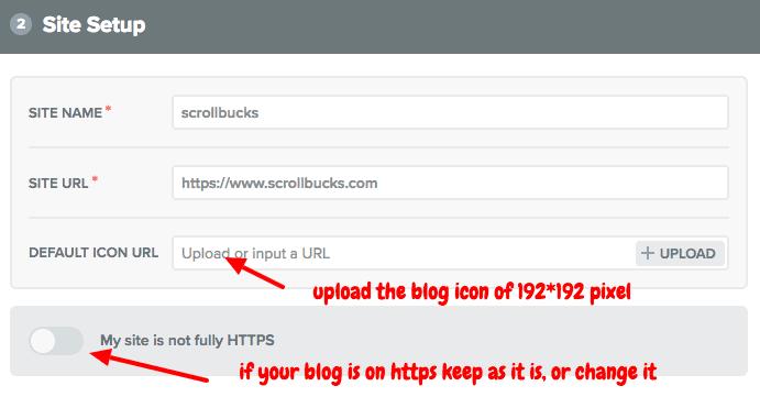 configure web push notification using onesignal