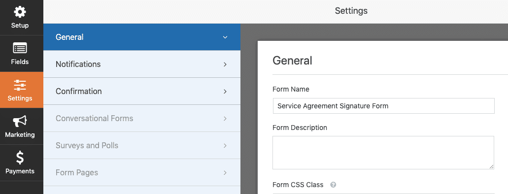 WPForm general setting